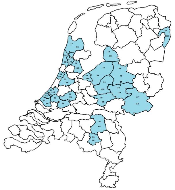 Kaart van de tijdelijke DAB allotmentgebieden in Nederland